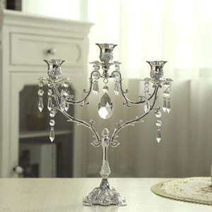 Crystal Candlestick Wedding Table Centerpiece Candelabra Dinner Decor Luxurious Romantic Candlelight 3&5 Lights Silver Candle Holder