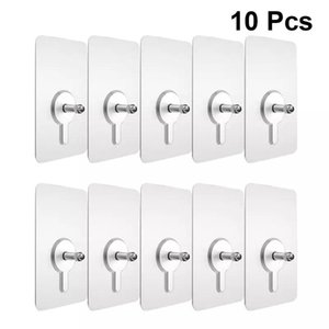 10pcs Punch-Free Bathroom Non-Marking Screw Stickers Nail-free Strong Sticky Wall Nails Picture Hook Hanging Kit Hooks & Rails