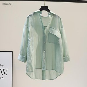 Светло-зеленый солнцезащитный крем рубашка женская Tencel корейская летняя свободная средняя длина обратно сплит с длинным рукавом верхние моды мужские платья рубашки