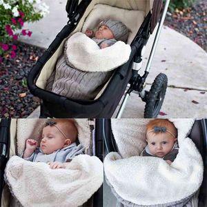 Newborn Baby Sleeping Bags Winter Warm Knit Crochet Swaddle Wrap Swaddling Blanket Soft Cotton Sleeping Bags