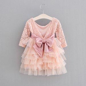Fashion Girls princess dress children lace long sleeve tulle tutu dresses kids back V-neck bows belt party clothes