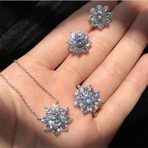 Sparkling Infinity Brand Luxury Jewelry Set Real 925 Sterling Silver Round Cut White Topaz CZ Diamond Stud Earring Women Clavicle Necklace