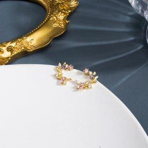 Little Flower Leaf Ear Studs Pink And Tender Sweet Silver Needle Color Zircon Earring Fashion Jewelry Women Girl 3 99hm Q2