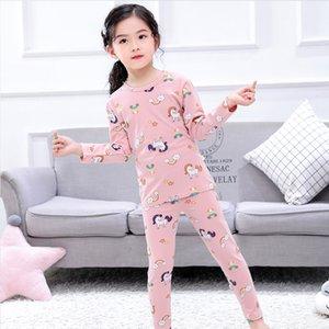 Unicorn Baskılı Pijama Karikatür Dinozor Uzun Kollu Üstleri Pantolon Pijama Erkek Kız Çocuk Çocuk 2 adet Set Giyim 22 2sd G2