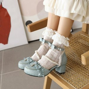 US4-11 Womens Lolita Round Toe Pearls Bowknot Lace Kawaii Cosplay Shoes Sandals Mid Heel Plus Size 34-45 Mary Janes 2021