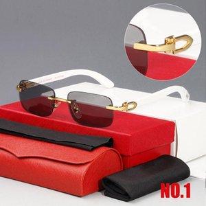 Gafas Gafas Marco Clear Gafas de sol Sin rontal Rectángulo Metal Lente Nuevo Ornamental Gafas de moda Brand Wood Sun MHRGB