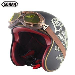 Motorcycle Helmets Fashion Cool Retro Helmet Rider With Mirror