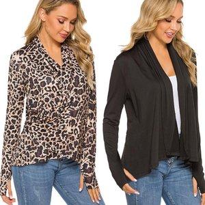 Women Leopard Print Long Sleeve Cardigan Coat 2021 Autumn Knitted Jumper Plus Size Outerwear Womens Tops Women's Knits & Tees