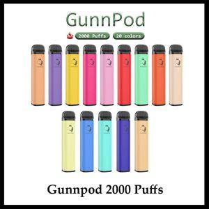 Gunnpod Descartável E-Cigarros Dispositivo Kit 2000 Puffs 1250mAh Bateria Personalizada 8ml Pod Vape Vape Pen