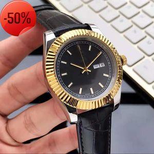 Herrenuhr Coole Automatische Bewegung Armbanduhr Gute Qualität Uhren Mineral Saphir Spiegel Römische Waage Kuh Lether Strap Overologio di Lusso