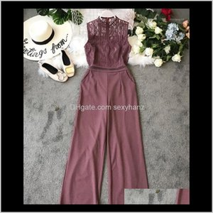 Womens Rompers Amolapha Women Crochet Hollow Out Sleeveless High Waist Wide Leg Jumpsuits Off Lady Lace Jumpsuit Rompers1 Qeuja U0Km4