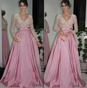 Pink Prom Dresses Long Sleeves 2021 Sparkly Sequins Lace Applique Satin Ribbon Floor Length Sexy Deep V Neck Custom Made Evening Party Gowns vestido