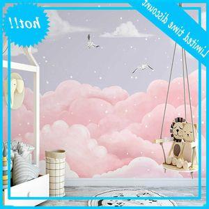 Custom Photo Wallpaper For Kids Hand Painted Romantic Pink Clouds Seagull Children Room Bedroom Mural Papel De Parede 3D