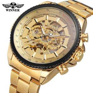 Top Marca Luxo Gold Winner Homens Assista Cool Mecânica Automática Relógio de Pulso Aço Inoxidável Band Homem Relógio Masculino Esqueleto Romano Dial