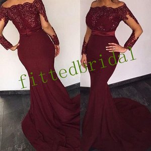 Bateau Lace Long Sleeve Mermaid Evening Dress With Slim Sash Sexy Open Back Sweep Train Prom Party Gown