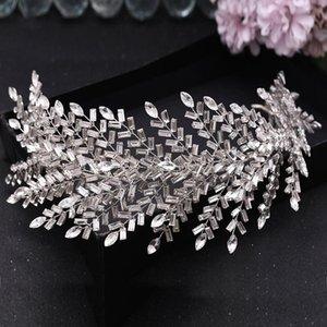Свадебные драки для волос Гробники Crins Crystal Churedsies повязки Листья для волос Серебро Цвет Tiaras и Crowns Свадебные аксессуары W0104
