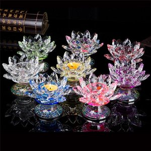 Feng shui Quartz Crystal Lotus Flower Crafts Glass candle holder Ornaments Figurines Home Wedding Party Decor Gift Souvenir