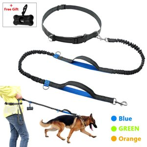 Hands Free Dog Leash Pet Running Rope 2 Hand Control Reflective For 150 Lbs Large Dogs Bag Dispense Collars & Leashes