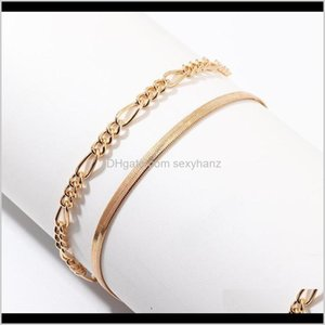 Bracelets Drop Delivery 2021 Fashion Simple Geometric Metal Snake For Women Gold Color Figaro Chain Charm Bracelet Summer Beach Jewelry Orzb0