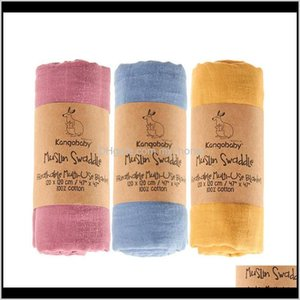 Swaddling Kangobaby 3 Piecespack100 Muslin Cotton Swaddle Blankets Born Pography Accessories Baby Wrap Bedding Bath Towel 201128 Srn1W 0Yuem