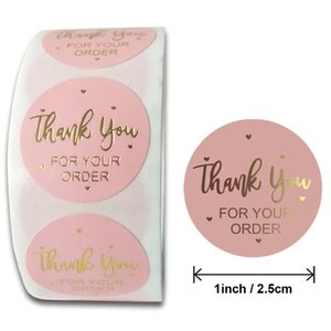 Tapes Stickers Supplies Office School & Industrialpink Colors 500Pcs Roll 10 Styles Flowers Heart Thank You Adhesive Sticker Scrapbooking Ha