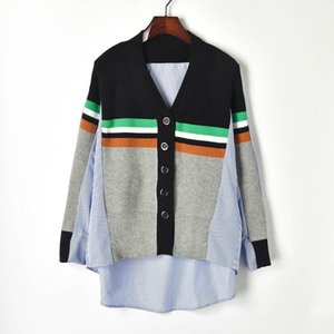 Women's Sweaters Oversized Cardigans Shirt Women 2021 Hit Color Striped V-neck Full Irregular Shirts Spliced Knit Single Breasted Cardigan T