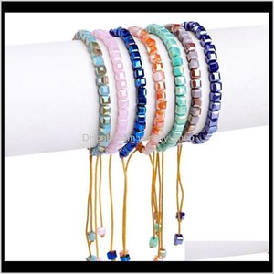 Beaded Strands Bracelets Drop Delivery 2021 Handwoven Square Glass Crystal Bead Jewelry Wholesale Beaded Bracelet Cd6Wz