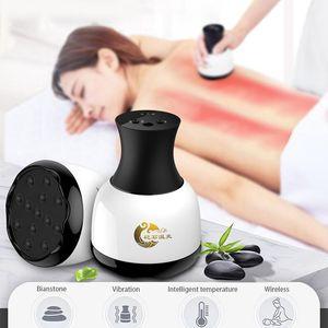Kablosuz Bian Taş Terapi Çin Masaj Makinesi Anti Selülit Vücut Elektrikli Vibratör Isıtma Gua Sha Detox Spa Gevşeme Masaj