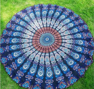 Silk Peacock Tail Fashion Printed Scarf Round Beach Towel Shawl Wrap