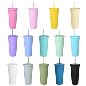 22OZ SKINNY TUMBLERS Matte Colored Acrylic Tumblers with Lids and Straws Double Wall Plastic Resuable Cup Tumblers ottie