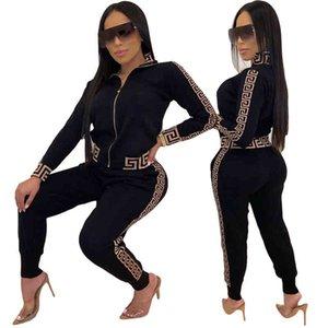 2021 Y2K TRACKSUIT DONNE ELEGANTE DUE-PIELLI Vestito set femminile elegante Plus Size Greco Fret Stampa Cappotto Pant Pant Set Jogging femme x0428