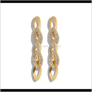 Jewelry Delivery 2021 Fashion Luxury Designer Diamond Zircon Braided Metal Long Drop Chandelier Dangle Stud Earrings For Woman Girls555 7Dgnj