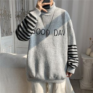Autumn and winter new sweater men's ins Hong Kong style loose high neck sweater Korean trend handsome student thread clothing
