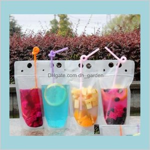 Tumblers Drinkware Kitchen Dining Bar Home Garden 100Pcs Clear Drink Pouches Bags Frosted Zipper Standup Plastic Drinking Bag St With