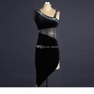 Velvet Latin Dance Dress Women Prom Dress Competition Dresses Salsa Tango Ballroom Costumes D0124 with Bra Cup Underwear Rhinestones