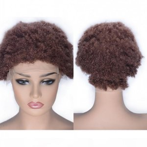 Human Hair Lace Front Wig Kinky Curly Pre Plucked Hairline 33# Mongolian Human Hair Wig Medium Size Cap