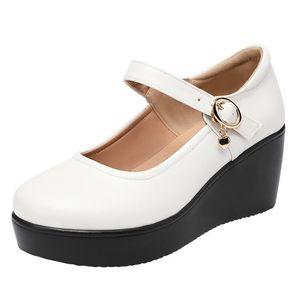 Dress Shoes TOACEK 2021 Spring Leather Women Platform Wedges Shoe High Heels Round Toe Soft Sole White Pumps Large Size 33-43