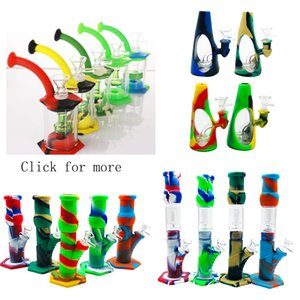 Hookah Silicone Bongs Percolators Big Straight Beaker With Glass Filter Bowl Banger for Smoke Hand Pipe Dab Rig Factory Outlet
