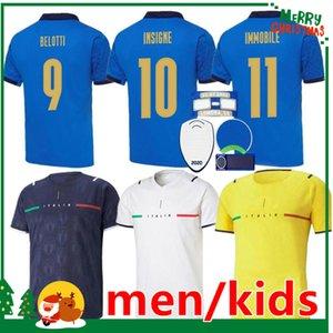 이탈리아 2021 축구 유니폼 홈 멀리 Jorginho el Shaarawy Bonucci Insigne Bernardeschi Italia 성인 남성 + 키즈 키트 축구 셔츠