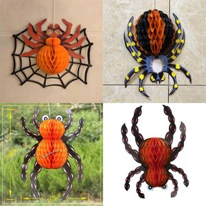 42cm 35cm 25cm Giant Halloween Honeycomb Crepe Paper Spider in Web Vintage Hanging Decoration Hallowmas Ghost Festival Props Home Garden Wall Hangings G89VDLC