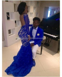 Black Girl Royal Blue Lace Prom Evening Dresses Mermaid Bateau sexy backless Illusion flower skirt Long Sleeves Formal prom Gowns Arabic