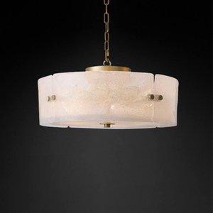 Abanico de arte All Copper Light Lighty Post Morden Simple Frosting Vidrio Lámpara de techo Original Clase de Clase Ronda Round Room Sala de comedor Lámparas Colgantes