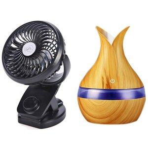 Ventilatori elettrici Clip a batteria Clip on Stroller Fan con 300ml Mini USB Umidificatore d'aria Umidificatore Aroma Diffusore
