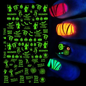 2021 3D Nail Stickers Glowing in Dark Halloween Flame Ghost Spider Web Luminous Party Design DIY Slider Nail Decor