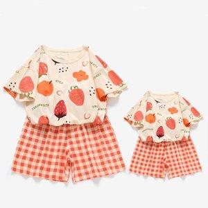 가족 일치하는 복장 여름 어머니와 딸 티셔츠 복장 과일 패션 엄마 Me 옷 반팔 양복 2pcs / 세트