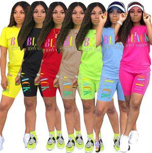 Summer Women Designer 2 Piece Sets Letter Clothes Casual Tracksuit Short Sleeve T-Shirt Biker Suits Sportswear Plus Size C0631