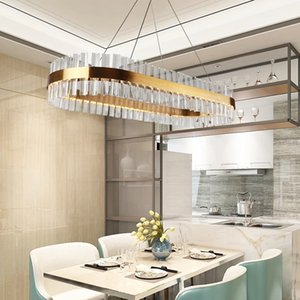 Luxury modern oval rectangle crystal lamp led chandeliers for dining room kitchen island design gold hanging lustres de cristal