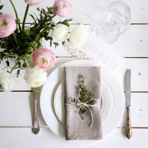 12Pcs Linen Fabric Napkin Table Dinner Napkins For Wedding Party 5 Size Available