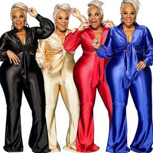 Frauen Trainingsanzüge Plus Größe 2-Stück Set Frauen Geburtstag Outfits Langarm Crop Top Und Baggy High Taille Hosen Hosen Sets Großhandel Tropfen