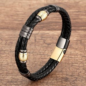 Punk Multilayer Braid Leather Bracelets & Bangles Geometric Stainless Steel Accessories Bracelet For Men Jewelry Gift Charm